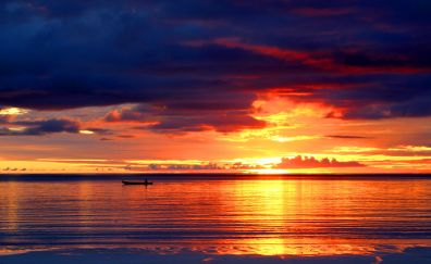 Sunset, Kai Islands, Indonesia, clouds, skyline