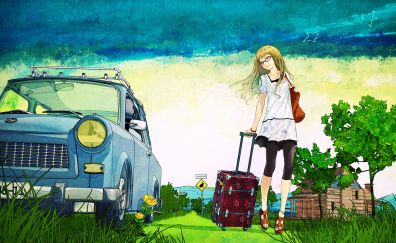 Cute, summer, anime girl, holiday, original