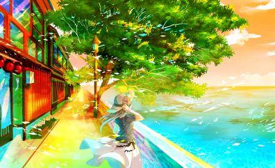 Tree, summer, anime girl, original, art