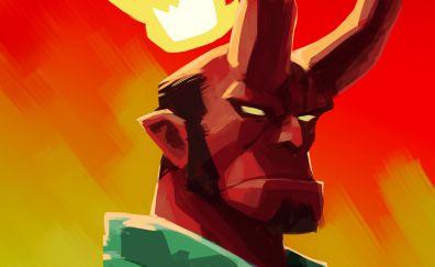 Hellboy, art, horns, superhero