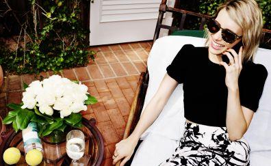 Emma Roberts, sunglasses, laugh, celebrity