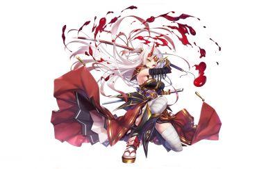 White hair, anime girl, sword, warrior, minimal