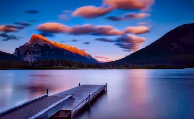 Banff National Park, lake, dock, sunset, mountains, nature