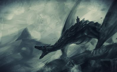 Dragon, white walkers, game of thrones, art