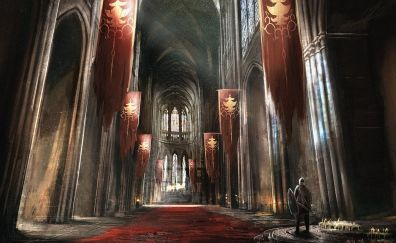 Knight, castle, banner, fantasy