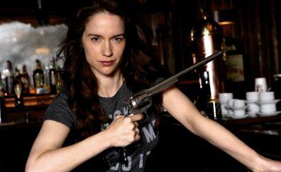 Melanie Scrofano with gun, wynonna earp, tv show, 4k