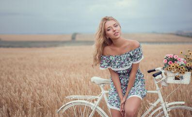 Blonde, girl model, bike, flowers, outdoor