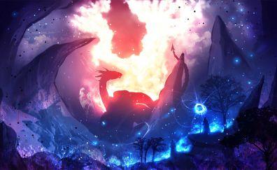 Dragon, warrior, night, illustration, art