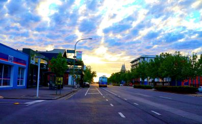 Sunset, Adelaide, clouds, city, road