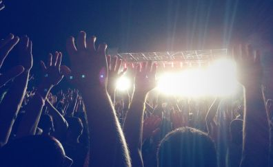 People, party, celebrations, night, hands up