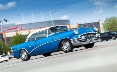 Blue classic car, 4k