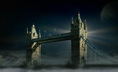 Tower Bridge, London, city, night, 4k