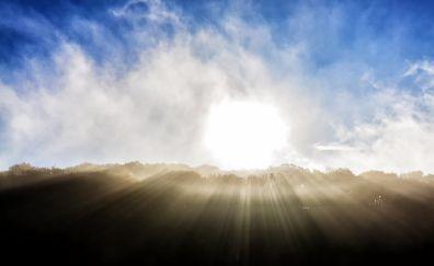 Clouds, sunrise, sunlight, skyline