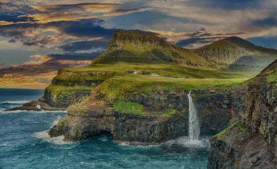 Hawaii island, waterfall, coast, landscape