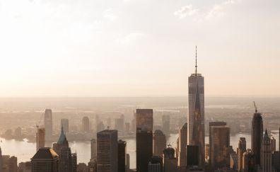 Manhattan, New York, city, buildings, Skyscrapers, aerial view