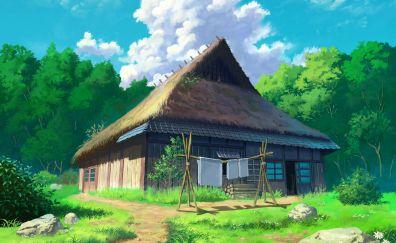 Anime, cottage, house