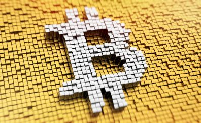 Bitcoin, crypotcurrency, logo, abstract, 8k