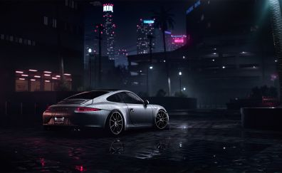 Porsche 911 Carrera S, need for speed, video game, night
