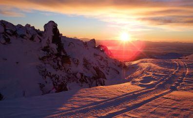 Sunset, snow, nature, skyline, winter