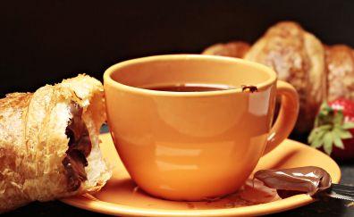 Coffee cup, breakfast, food