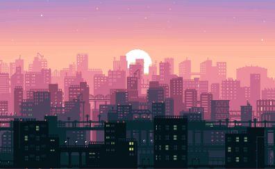 Pixel art, abstract, city