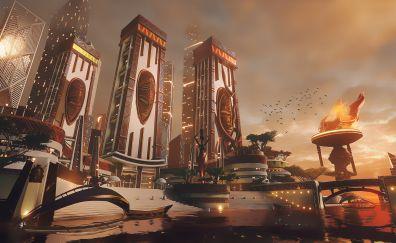 African city, futuristic, beyond human, fantasy, 4k