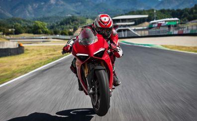 Ducati Panigale V4 S, 2018 bike, rider, 4k