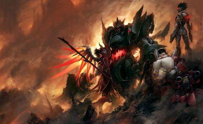 Overwatch, online game, fan art, mercy, tracer