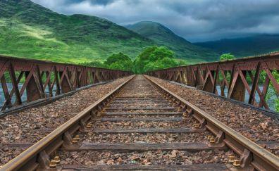 Railroad, bridge, mountains, landscape