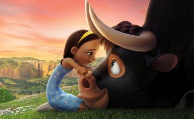 Ferdinand, girl and bull, animation movie