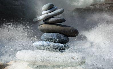 Zen stones, balance, water splashes