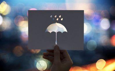 Umbrella, hand, bokeh