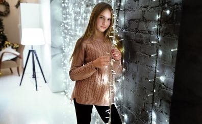 Lights, decorations, Christmas, holiday, girl model