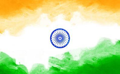 Indian flag, tricolor, digital art, 4k