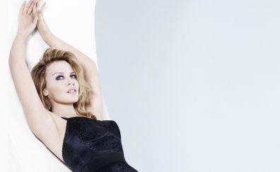 Kylie Minogue, blonde, lying down, 4k