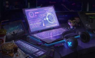 Agents of mayhem, headphone, laptop
