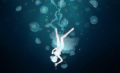 Underwater, dive, fishes, anime girl, jellyfish, minimal
