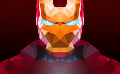Iron man, low poly, abstract, digital art