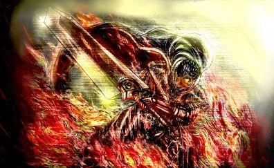 Big sword, guts, berserk, glitch art, 5k