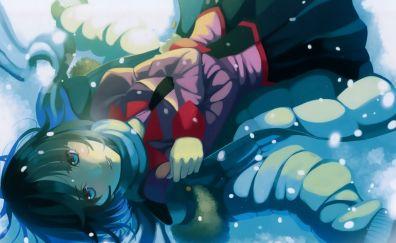 Hitagi Senjougahara, Bakemonogatari, anime girl, lying down