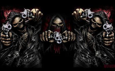 Ghost, assassin, skull, gun, art