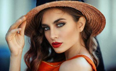 Red juicy lips, hat, face, girl model