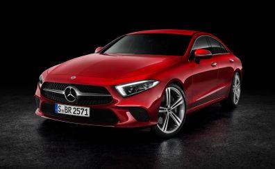 2019 Mercedes-Benz CLS 450, red car, 4k