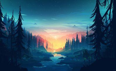 Waterfall, nature, illustration, sunset, art