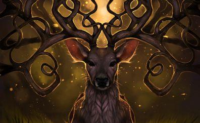 Reindeer, muzzle, horns, art