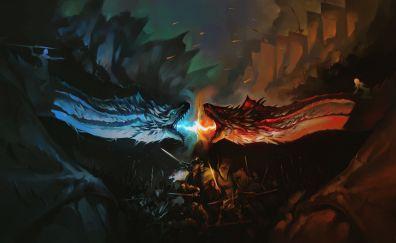 Game of thrones, dragons's fight, dark, fan art, 5k