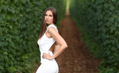 Connie carter, brunette, white dress