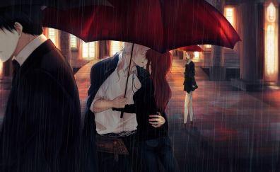 Rain, couple, anime, kiss, umbrella, original