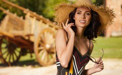 Summer, hat, girl model, smile