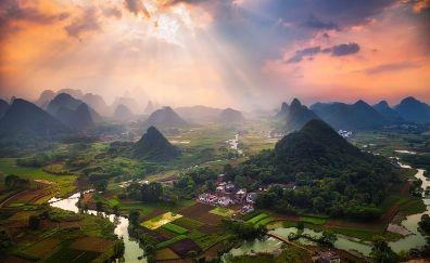 Aerial view, landscape, sunlight, hills